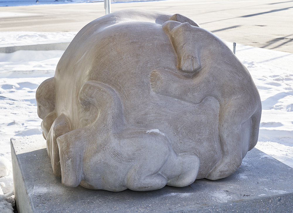 Abraham Anghik Ruben. Playtime, 2020. Indiana limestone. Collection of the WAG. Commissioned by Tannis M. Richardson, CM, LLD. 6